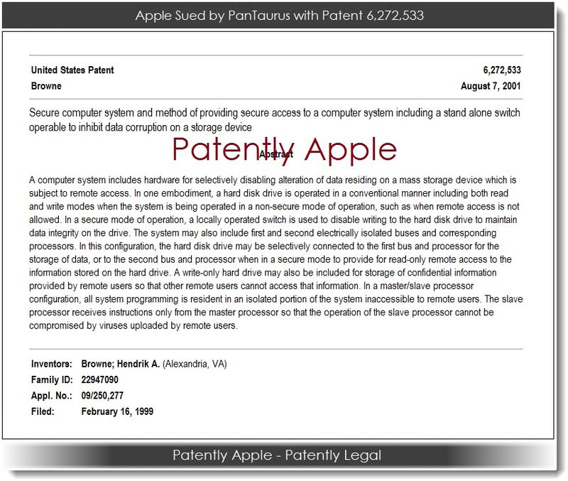 2. PanTaurus sues Apple with patent # 6,272,533