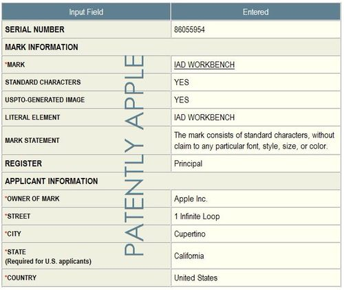 2. Apple's Trademark Application in-part for iAd Workbench