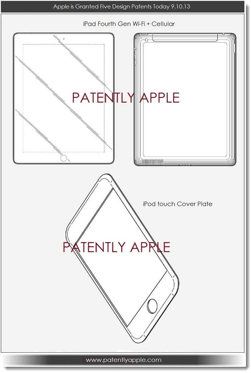 5. Apple granted design patents for iPad 4 and iPod touch cover plate