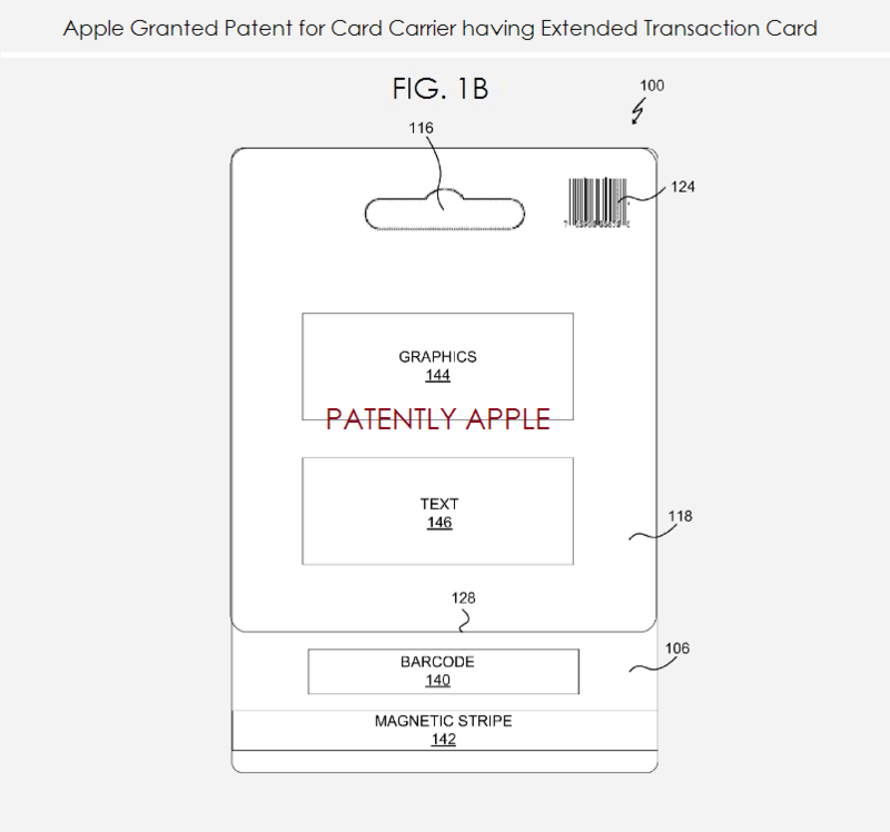 4. Apple granted patent for card carrier having extended transaction card - retail - fig. 1b