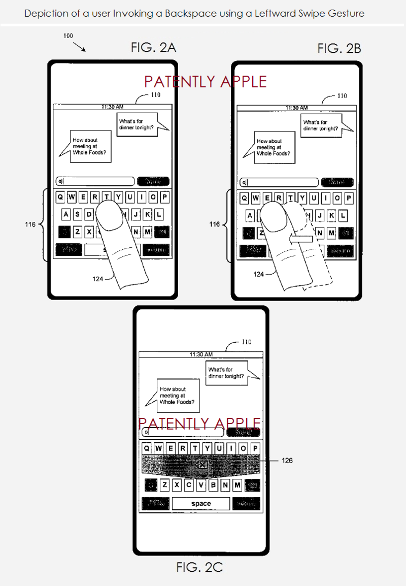 3B - Apple granted patent - backspace using leftward swipe gesture