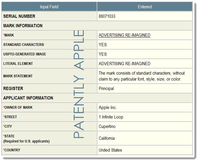 2. Apple's UPSTO TM Application for Advertising Re-Imaged  for iAd