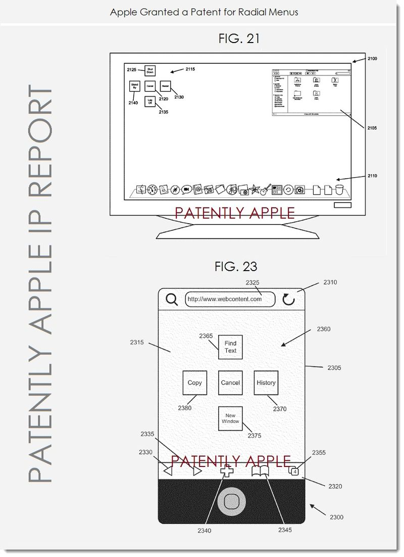 3. Apple wins Radial Menus Patent, figs. 21, 23