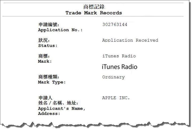 3. Apple files for iTunes Radio TM in China