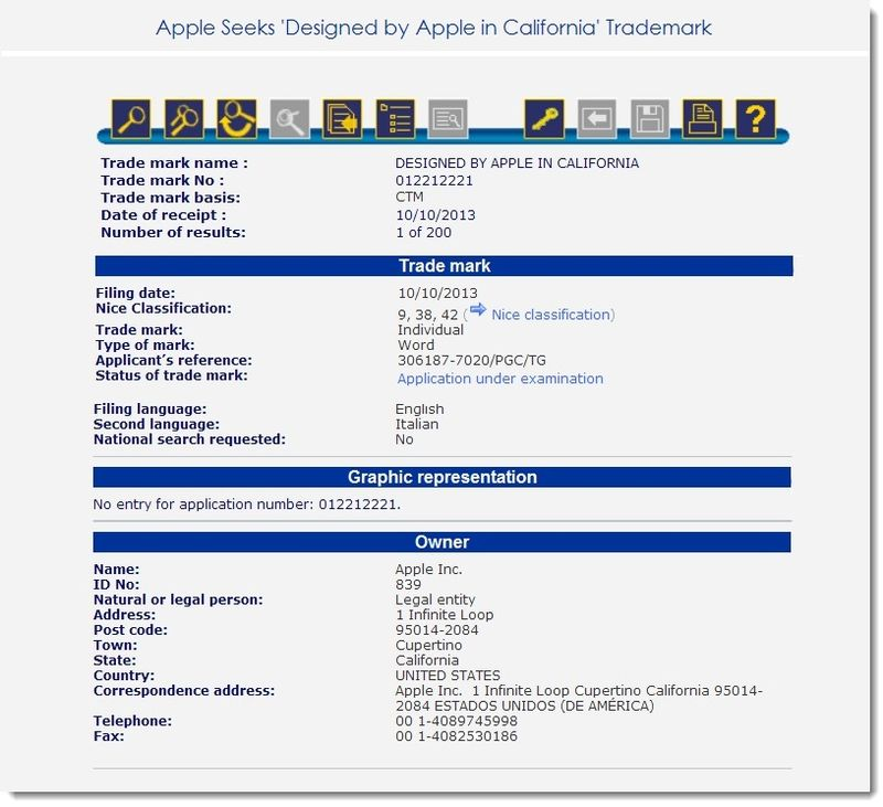2. Apple's European filing in-part for Designed by Apple in California Trademark