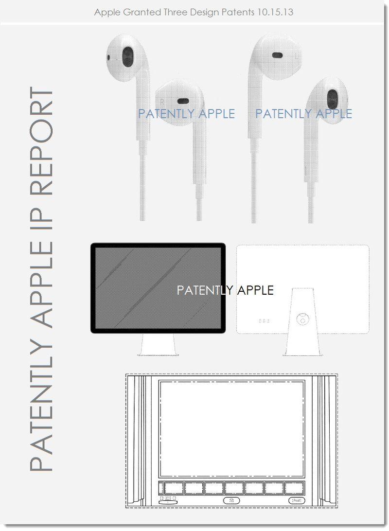 5. Apple granted 3 design patents - EarPods, Cinema display + Oct 15, 2013