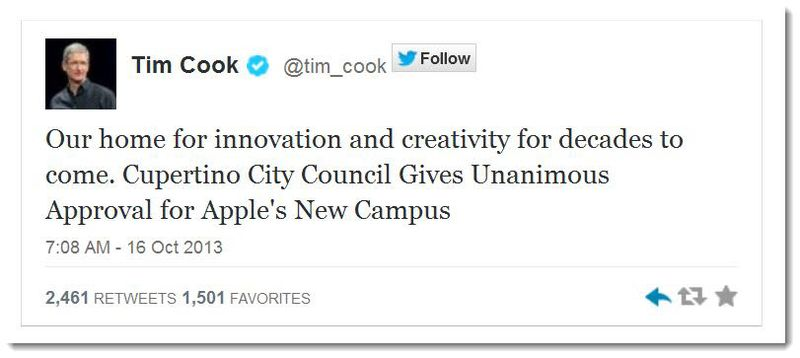 2.1A Apple CEO Tim Cook's Tweet Oct 16, 2013