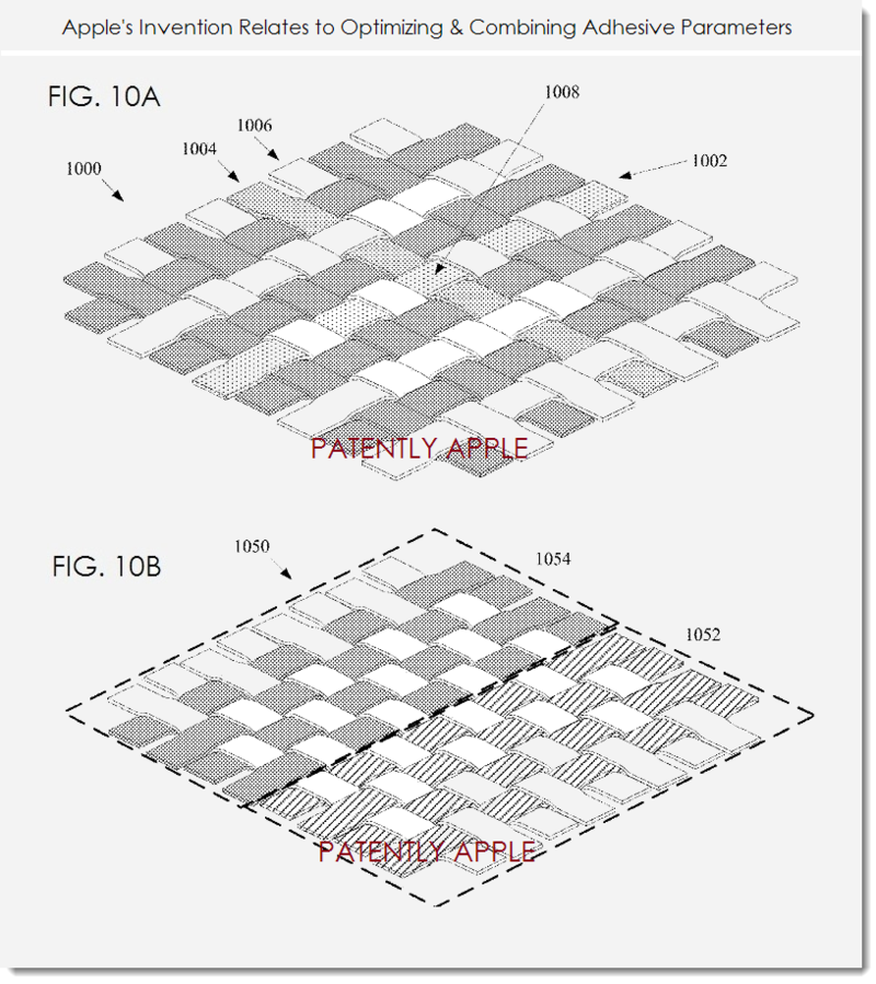 4. Apple's invention relates to Optimizing & Combining Adhesive Parameters, figs 10a,b