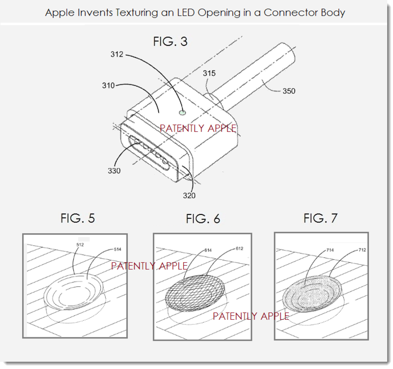 2. Apple invents texturing an LED Opening in a Connector Body