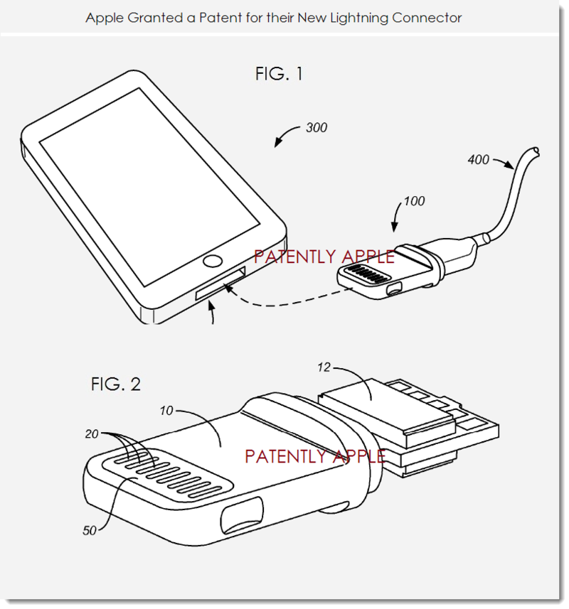 2. Apple Granted patent for the lightning connector