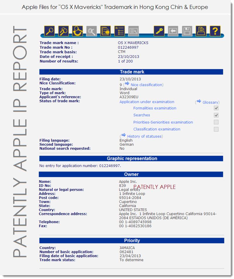 2. Apple's Trademark Application in-Part for OS X Mavericks - Oct 23, 2013