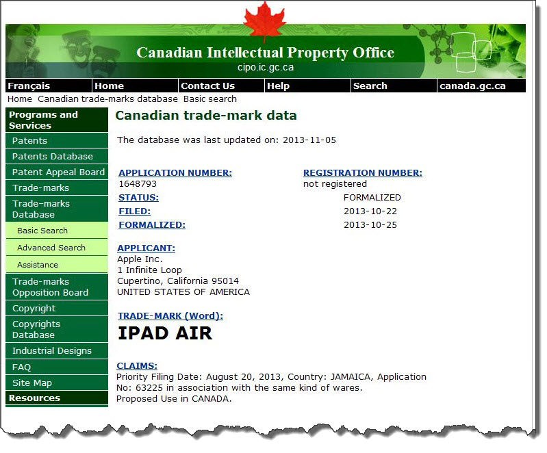 4AA2. Apple iPad Air Canadian IP Office