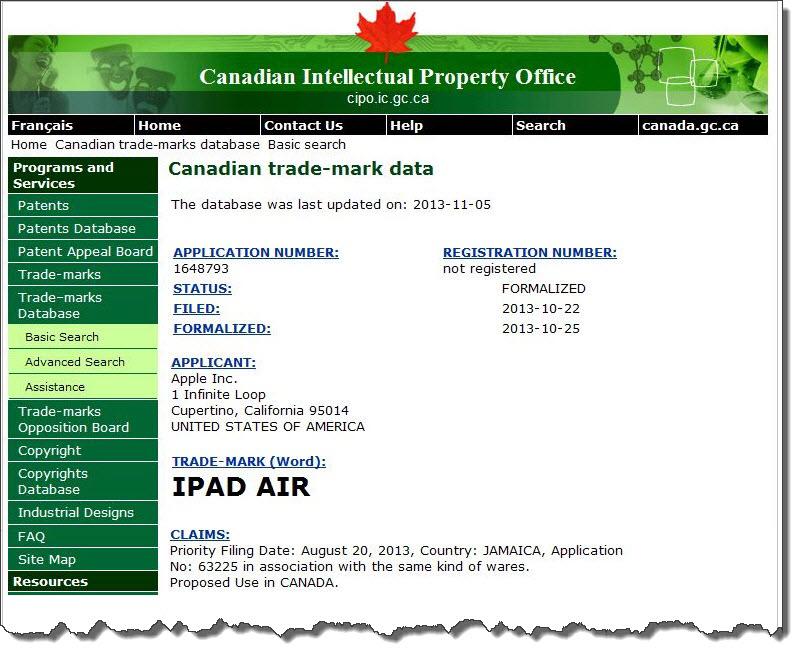 4AA2. Apple iPad Air Canadian IP Office