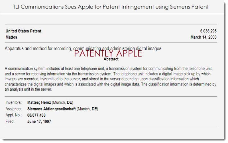 2. Apple sued for patent infringement  with Siemens patent