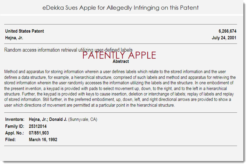 2. eDekka sues Apple for allegedly infringing patent 6,266,674