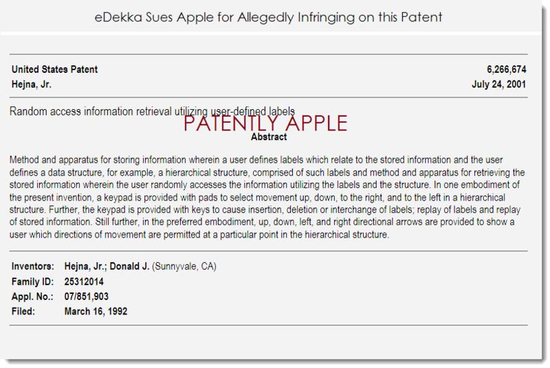 2. eDekka sues Apple for allegedly infringing patent 6,266,674