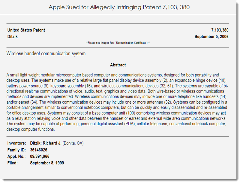 2. Apple sued for allegedly infringing patent 7,103,380