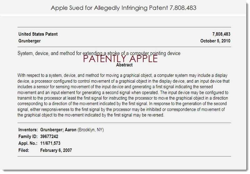 2. LONG CORNER ELECTRONICS SUES APPLE WITH PATENT 7,808,483