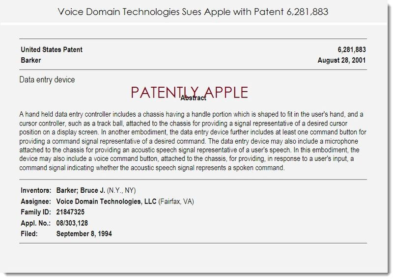 2. Voice Domain Technologies Sues Apple with Patent 6,281,883