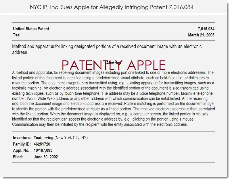 2. NYC IP Sues Apple for allegedly infringing patent 7,016,084