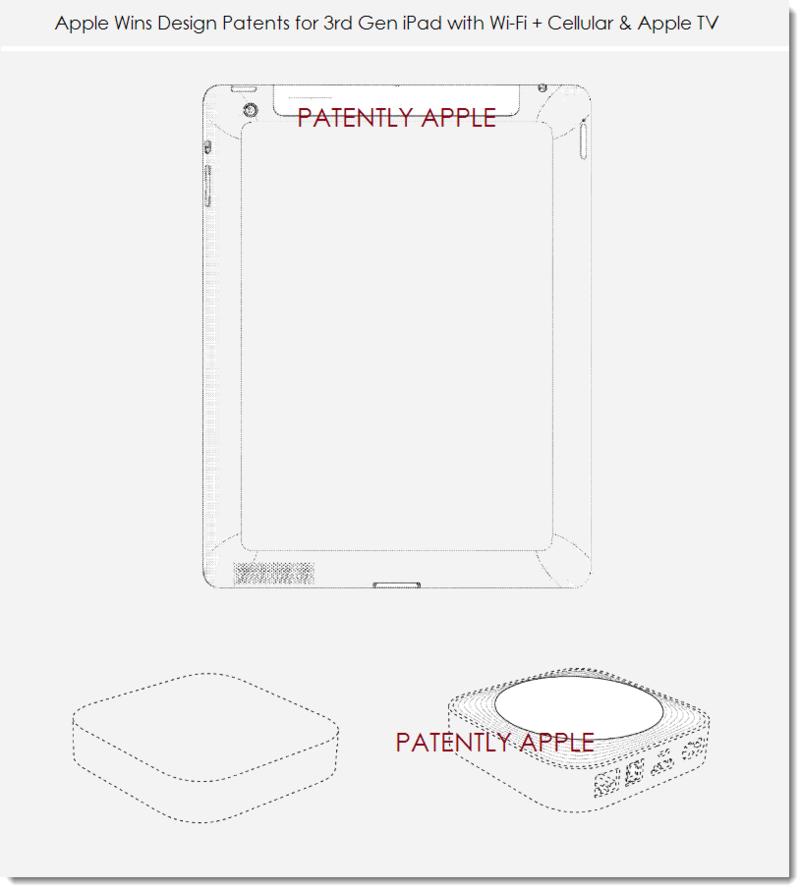 4. Apple wins design patents for iPad 3rd gen wifi + cellular & Apple TV