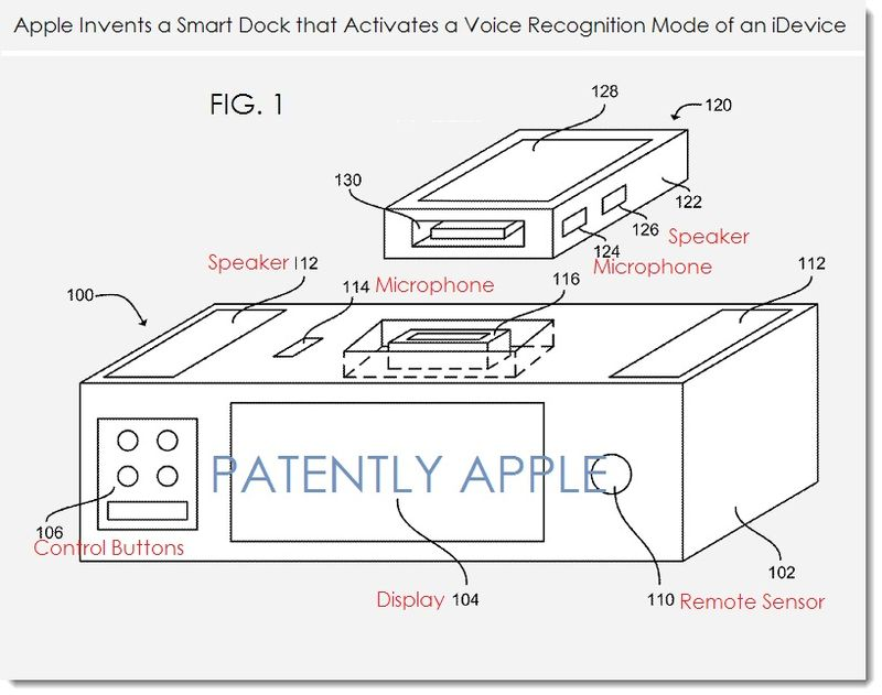 2. Apple patent - smart dock with voice recognition mode