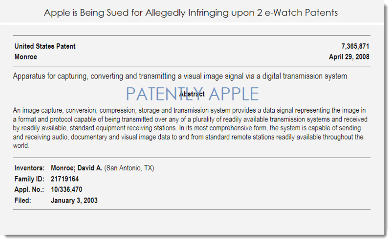 2. PATENT 7,365,871 - e-Watch allegeds Apple infringes upon their patent