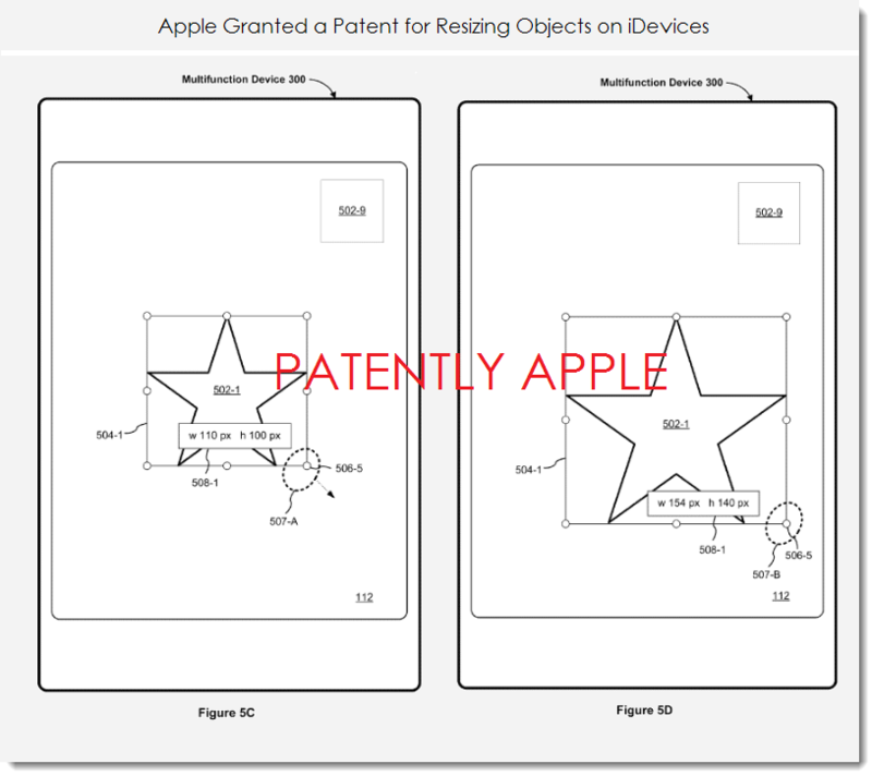 2. Apple granted a patent for resizing objects on iDevices
