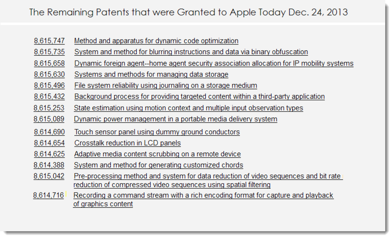 6. The remaining patents that were granted to Apple Today, Dec 24, 2013