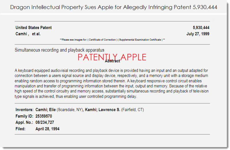 2. Dragon IP sues Apple with this patent for alleged infringement