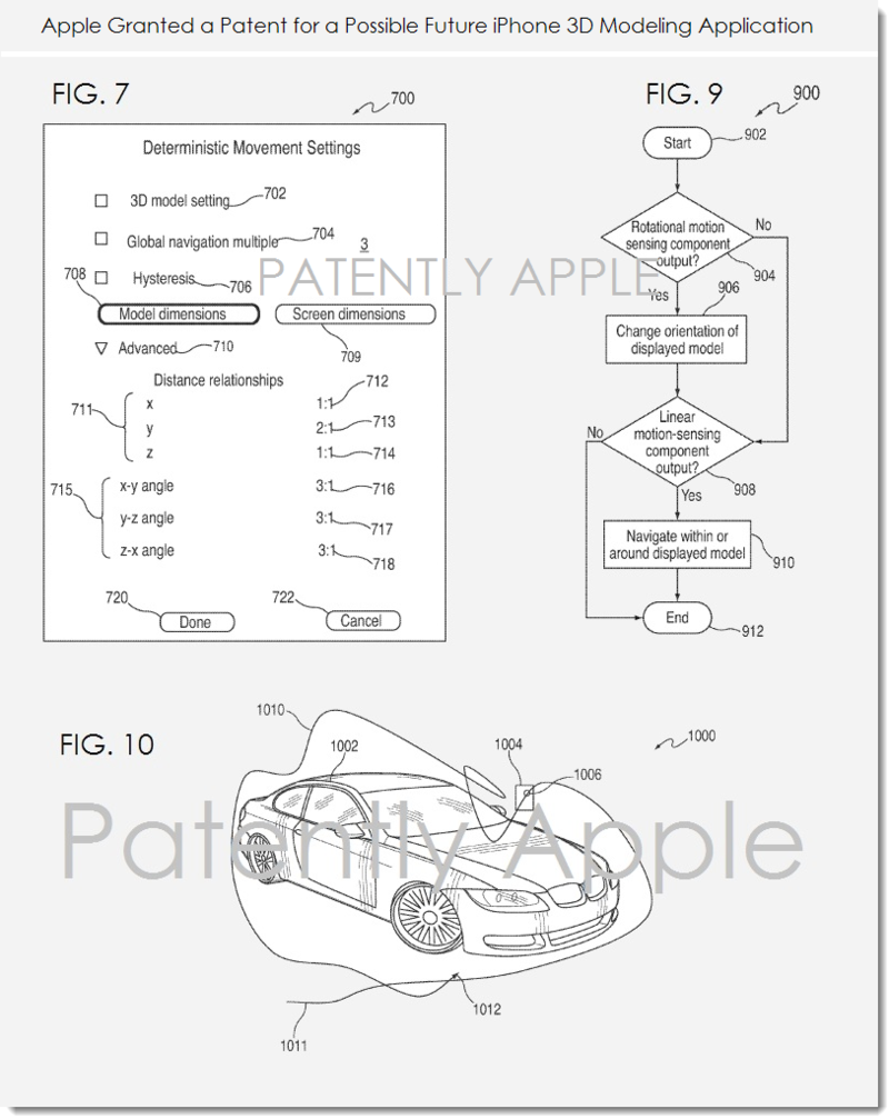 2. Apple granted patent re fuutre iPhone 3D modeling Application figs 7, 9, 10