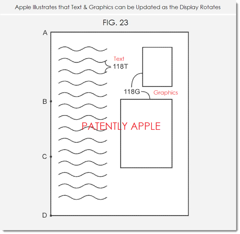 6. Apple patent fig. 23 Content updates as the  display rotates