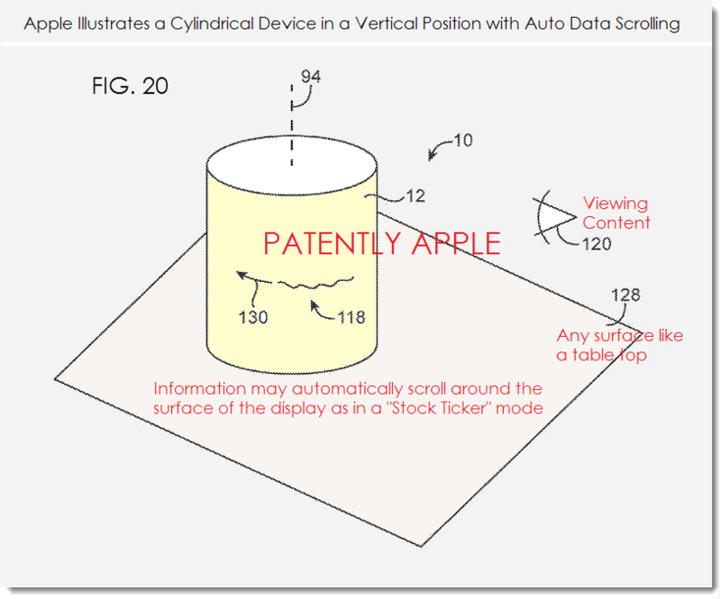 7. Apple patent - auto scroll mode - stock ticker mode example of information rotating around display