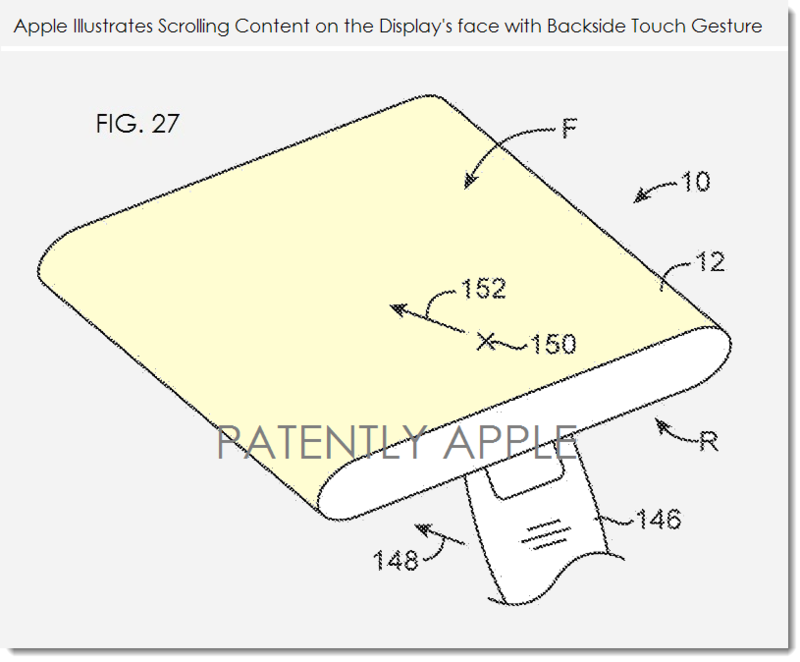 8. Apple patent fig 27, scrolling face side content with backside gesture