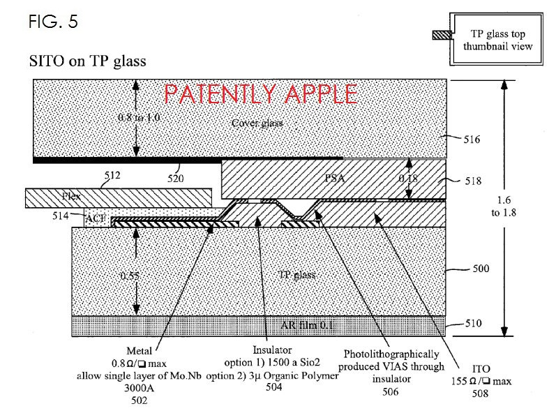 3 Apple patent single layer touch display