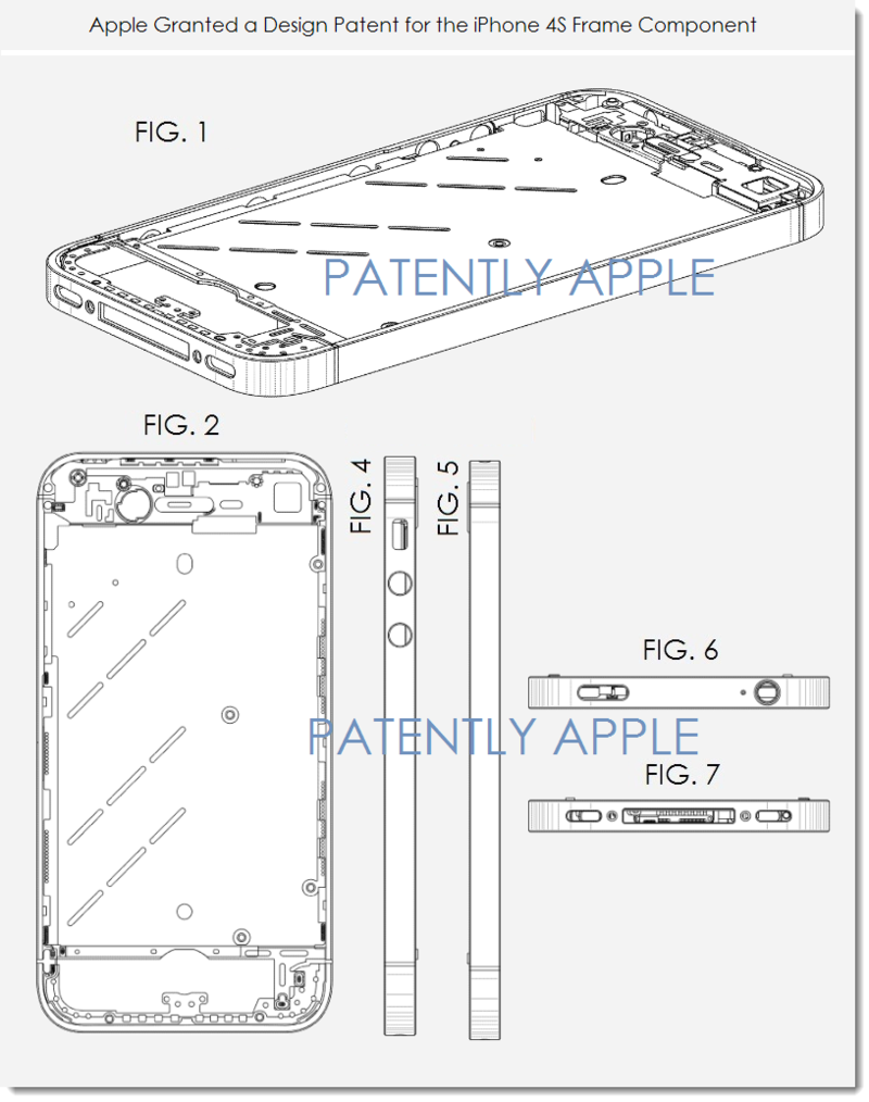 4. Apple Granted a design patent for the iPhone 4S Frame Component