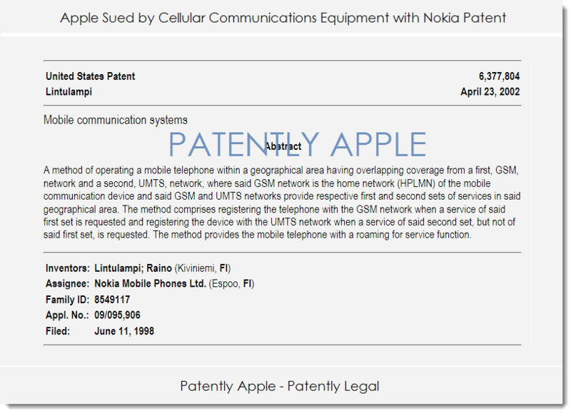 2. Apple sued by cellular communications equipment with Nokia patent Jan 2014