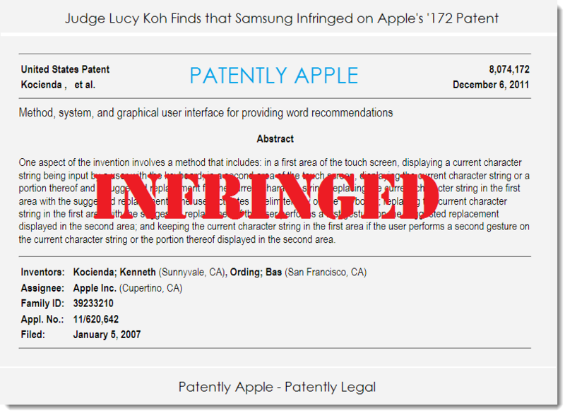 3. Judge Lucy Koh finds Samsung infringed on Apples 8,074,172 patent