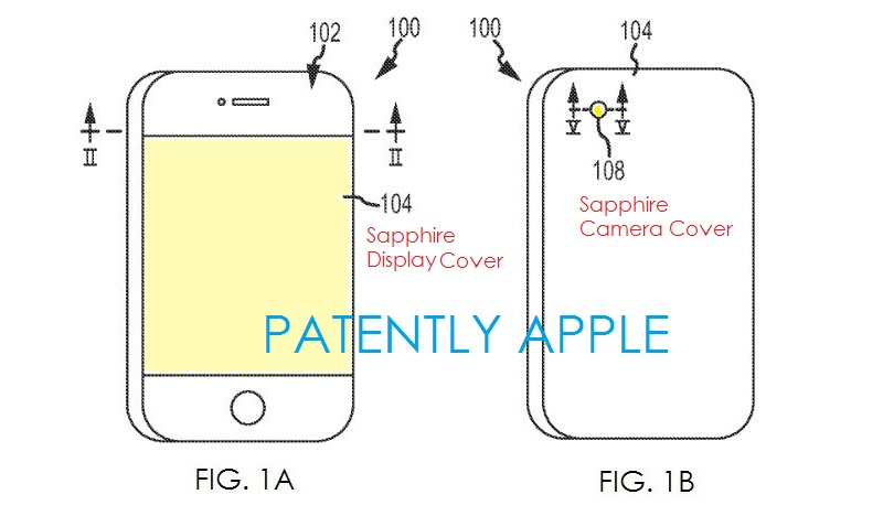 2. Apple patent figures 1a,b Sapphire cover for display and camera lens