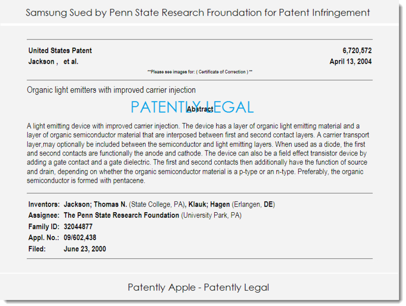 2A. Samsung Sued by Penn State ... for patent infringement
