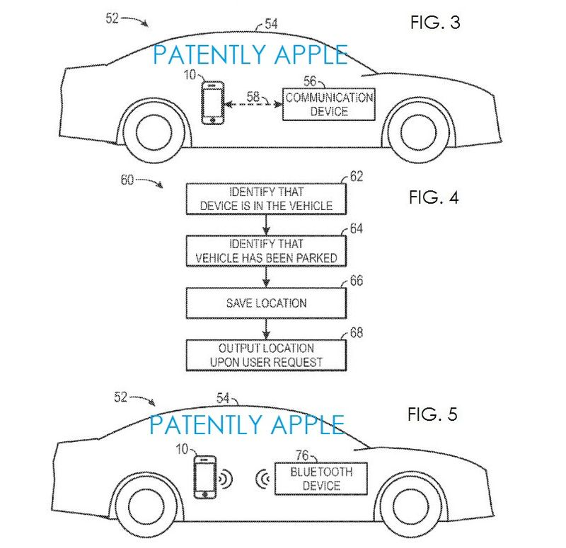 2. Apple's Vehicle Location Patent figs. 3,4&5