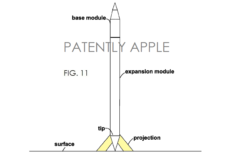6. Apple modular stylus patent fig. 11 with projection feature