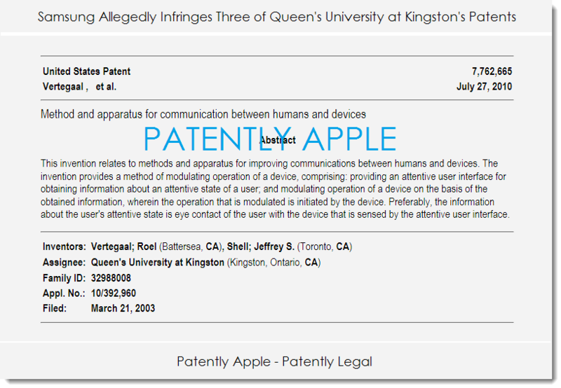 2. Samsung allegedly infringes 3 Queen's University at Kingston's patents