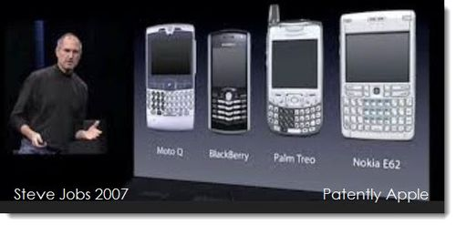 2a Steve Jobs pointing out the heavy use of physical buttons on so-called smartphones in 2007