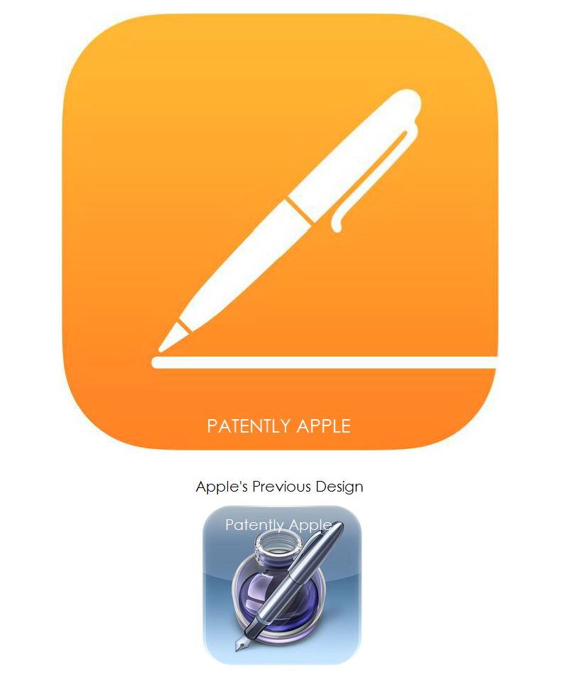 2. Apple's new iOS 7 Pages App Icon + previous design