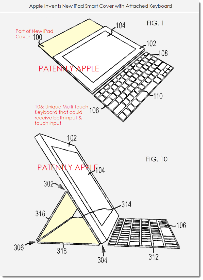 2. Apple patent figs 1 & 10 re new iPad smart cover with attached keyboard