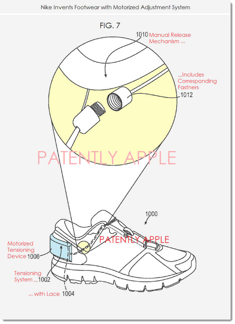 7. Nike patent fig. 7 - Nike + system - footwear with motorized adjustment system