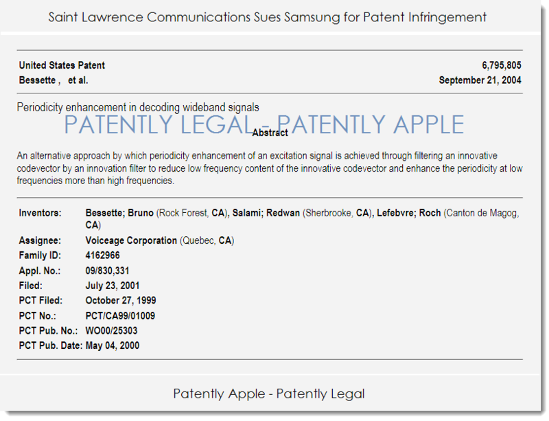 2. Patently Legal report St. Laurance Comm vs Samsung Apr 2014