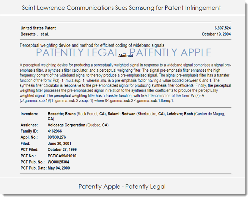 3. Patently Legal report St. Laurance Comm vs Samsung Apr 2014