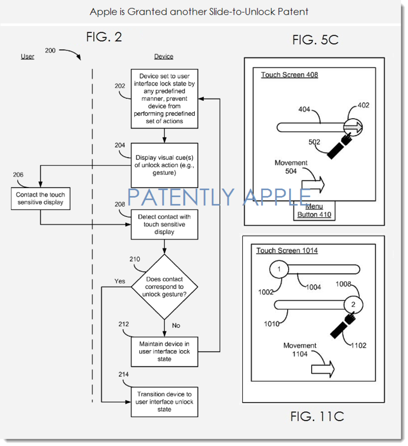 2. Apple slide-to-unlock patent